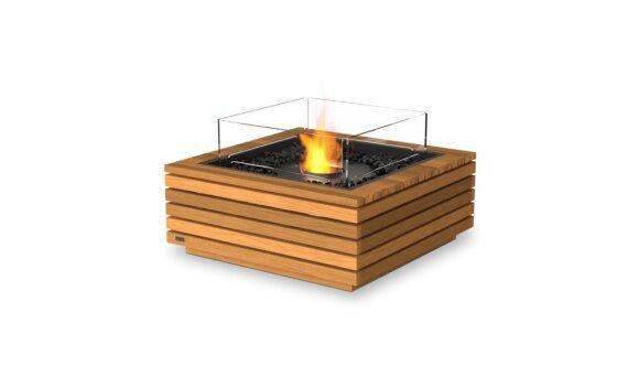 Base 30 Fire Table - Ethanol - Black / Teak / Optional Fire Screen by EcoSmart Fire