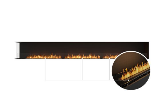 Flex 158LC Left Corner - Ethanol - Black / Black / Installed View by EcoSmart Fire