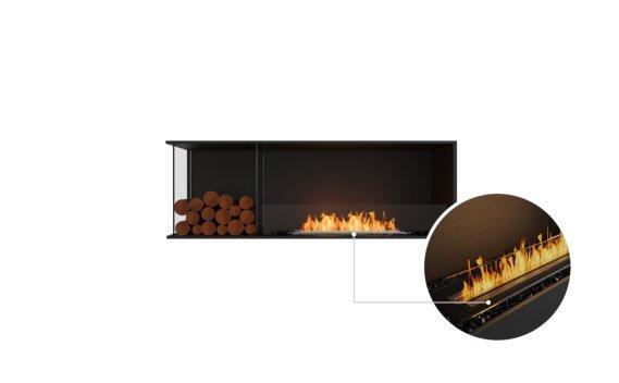Flex 60LC.BXL Left Corner - Ethanol - Black / Black / Installed View by EcoSmart Fire