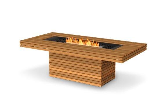 Gin 90 (Dining) Fire Table - Ethanol / Teak / Optional Fire Screen by EcoSmart Fire