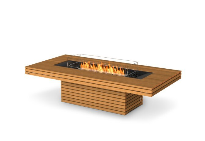 Gin 90 (Chat) Fire Table - Ethanol / Teak / Optional Fire Screen by EcoSmart Fire