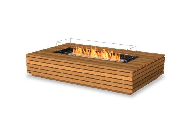 Wharf 65 Fire Table - Ethanol / Teak / Optional Fire Screen by EcoSmart Fire
