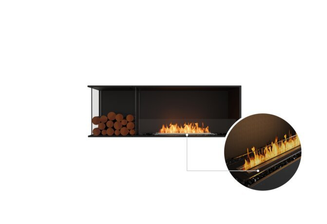 Flex 60LC.BXL Left Corner - Ethanol - Black / Black / Installed View by EcoSmart Fire