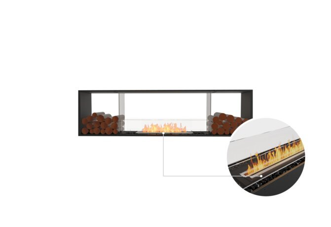 Flex 78DB.BX2 Double Sided - Ethanol - Black / Black / Installed View by EcoSmart Fire