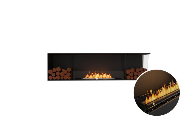 Flex 78RC.BX2 Right Corner - Ethanol - Black / Black / Installed View by EcoSmart Fire