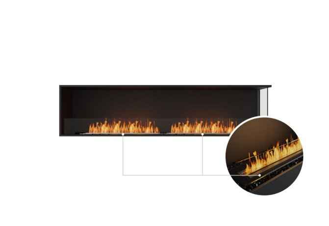 Flex 86RC Right Corner - Ethanol - Black / Black / Installed View by EcoSmart Fire