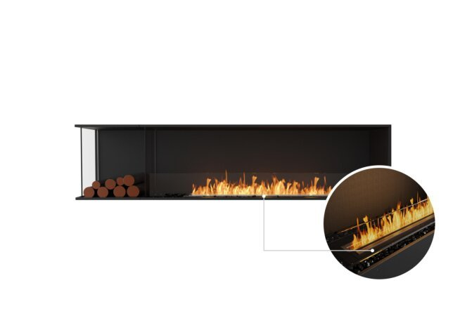 Flex 86LC.BXL Left Corner - Ethanol - Black / Black / Installed View by EcoSmart Fire