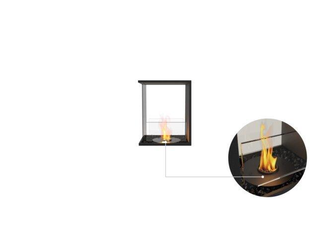 Flex 18PN Peninsula - Ethanol - Black / Black /  Installed View by EcoSmart Fire