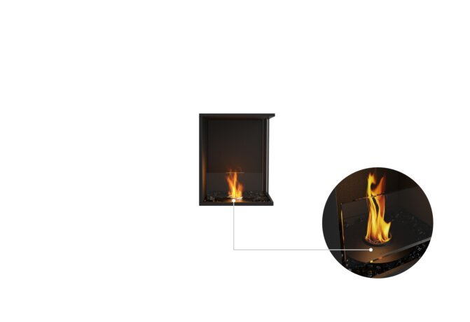Flex 18RC Right Corner - Ethanol - Black / Black /  Installed View by EcoSmart Fire