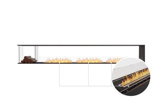 Flex 140PN.BXL Peninsula - Ethanol - Black / Black / Installed View by EcoSmart Fire