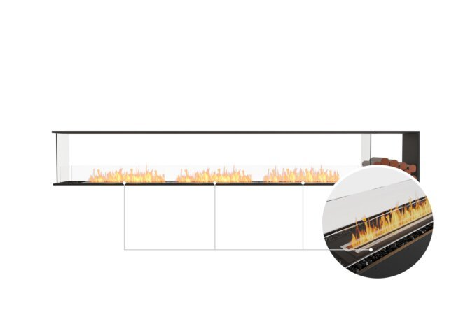 Flex 140PN.BXR Peninsula - Ethanol - Black / Black / Installed View by EcoSmart Fire