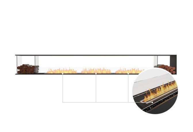 Flex 158PN.BX2 Peninsula - Ethanol - Black / Black / Installed View by EcoSmart Fire