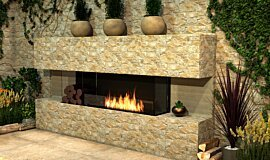 Outdoor Setting Linear Fires Built-In Fire Idea