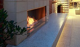 Private Residence Outdoor Fireplaces Built-In Fire Idea