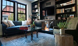 New York Loft Indoor Fireplaces Built-In Fire Idea