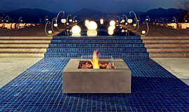 Commercial Space Fluid Concrete Technology Fire Table Idea