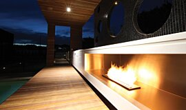 Portsea Private Pool Pavilion Favourite Fireplace Built-In Fire Idea