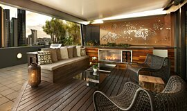 Private Balcony Favourite Fireplace Built-In Fire Idea