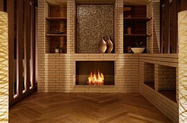 Firebox 800SS Wall Mounted Fireplace - In-Situ Image by EcoSmart Fire