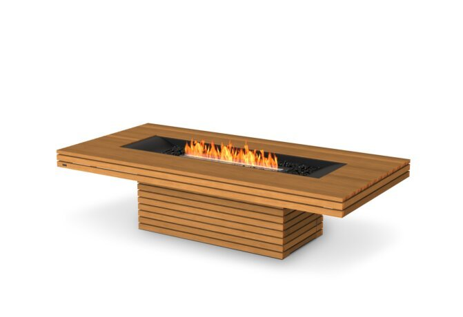 Gin 90 (Chat) Fire Table - Ethanol - Black / Teak by EcoSmart Fire