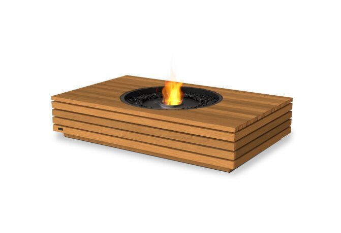 Martini 50 Fire Table - Ethanol - Black / Teak by EcoSmart Fire